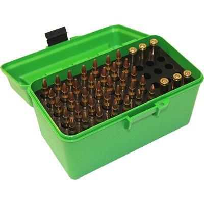 Caja MTM verde Cal. 22-250 a 8mm con asa (50 cart)