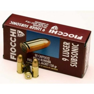 Cartridge 9 158gr Subsonic Fiocchi