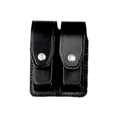 Double black leather magazine holder