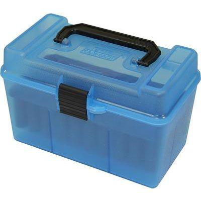 Caja MTM azul Cal. 22-250 a 8mm con asa (50 cart.)