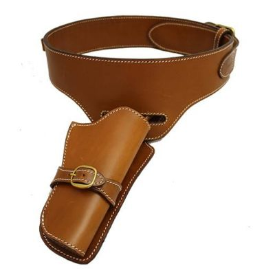 Belt with brown leather strap revolver