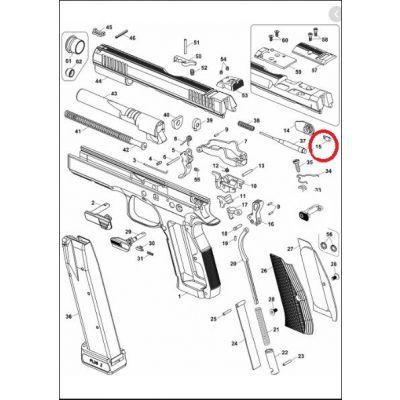 Trinquete seguro derecho pistola CZ Shadow2  nº 15