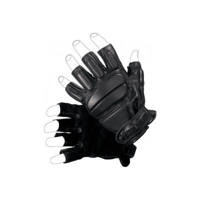 Anti-trauma leather glove cut fingers with protection back L