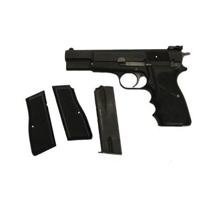 9 HP FN Browning pistol w / grip hogue and adjustable rear sight . Used